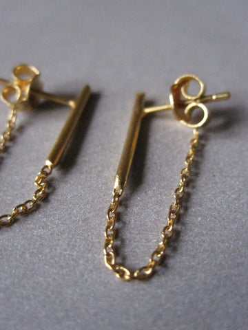 925 Silver Bar Chain Earrings - Gold