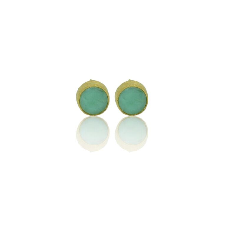 CollardManson 925 Silver Chrysophrase Brushed Studs- gold plated