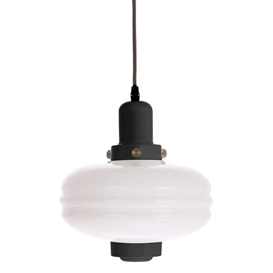 white glass pendant lamp Large black