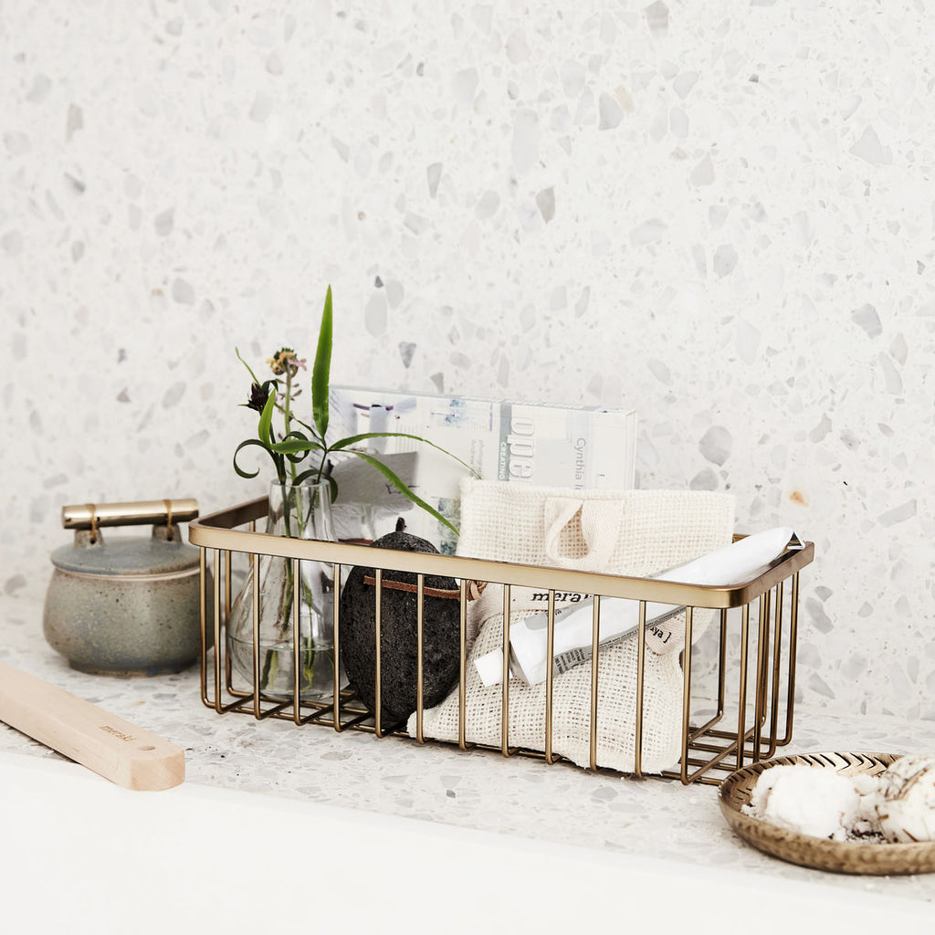 Brushed Brass Bath Basket