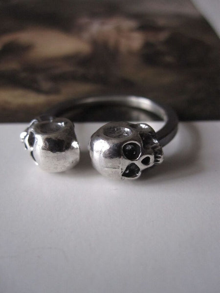 925 Silver double Skull Ring