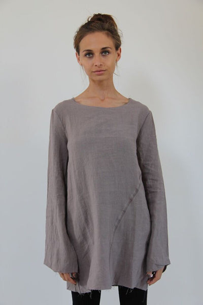 WDTS frayed edge linen top- stone