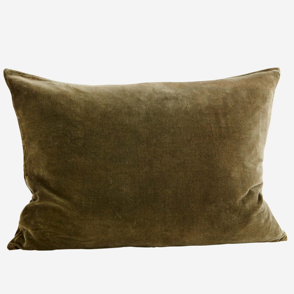 Large VELVET CUSHION COVER Olive Green