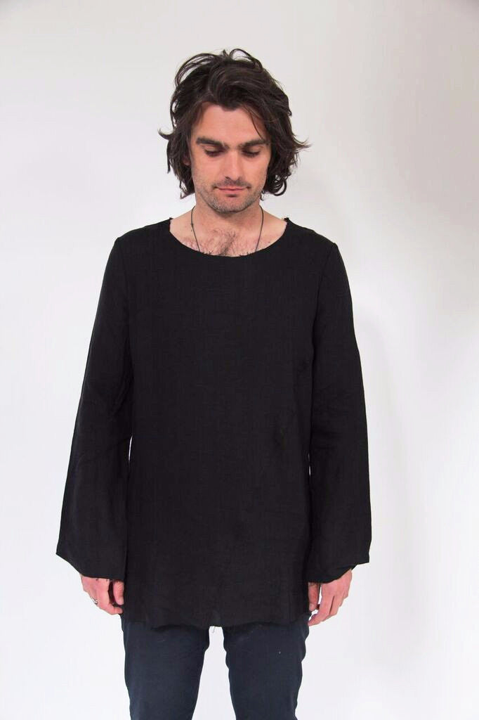 frayed edge linen top- black