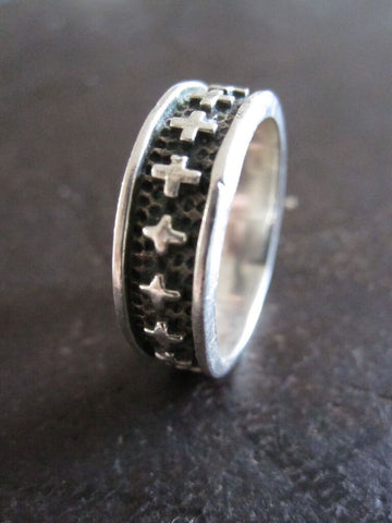 925 Silver Cross Band Ring