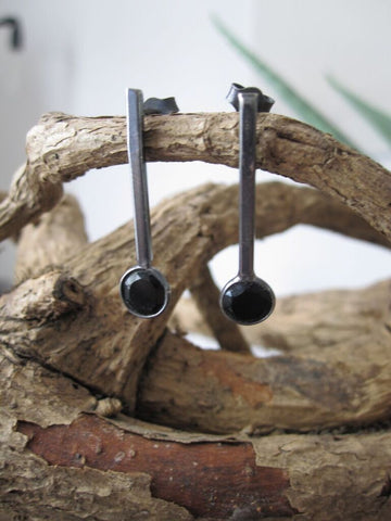 925 Oxidised Silver stud drop Onyx Earrings