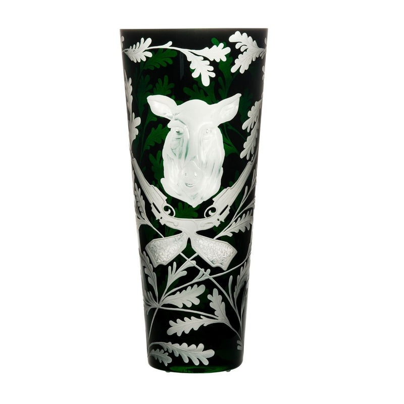 Crystal Vase - Wild Boar - British Racing Green