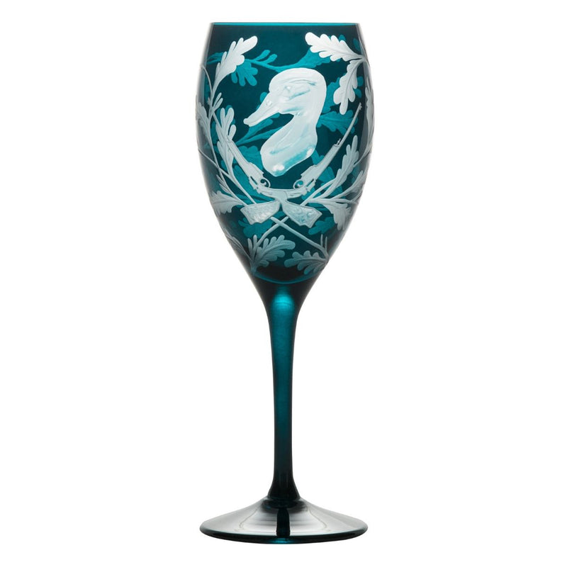 Crystal Red Wine Glass - Duck - Peacock Blue