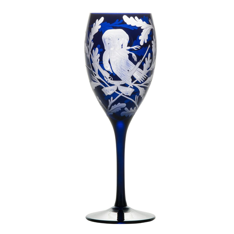 Crystal Red Wine Glass Set of 3 - Labrador & Pheasant - Ink Blue