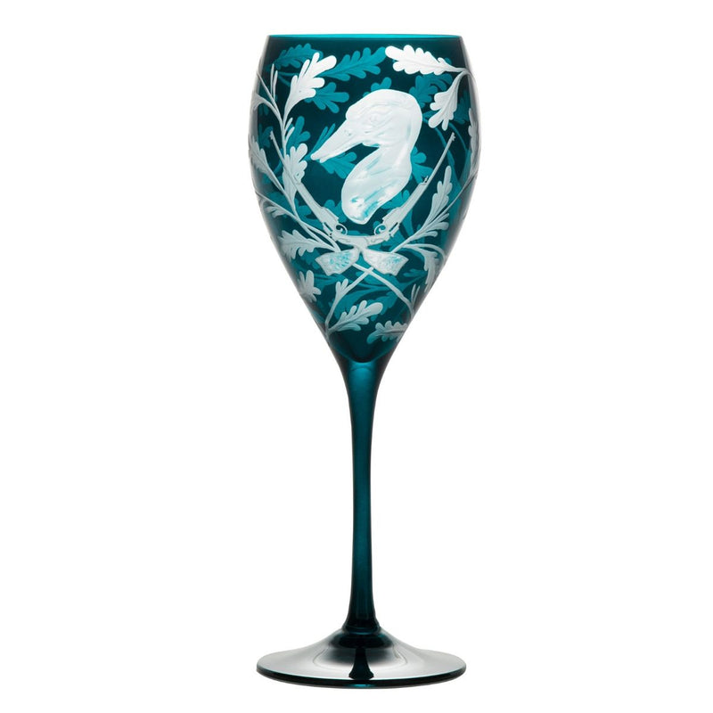 Crystal Wine Goblet - Set of Four - Duck - Peacock Blue
