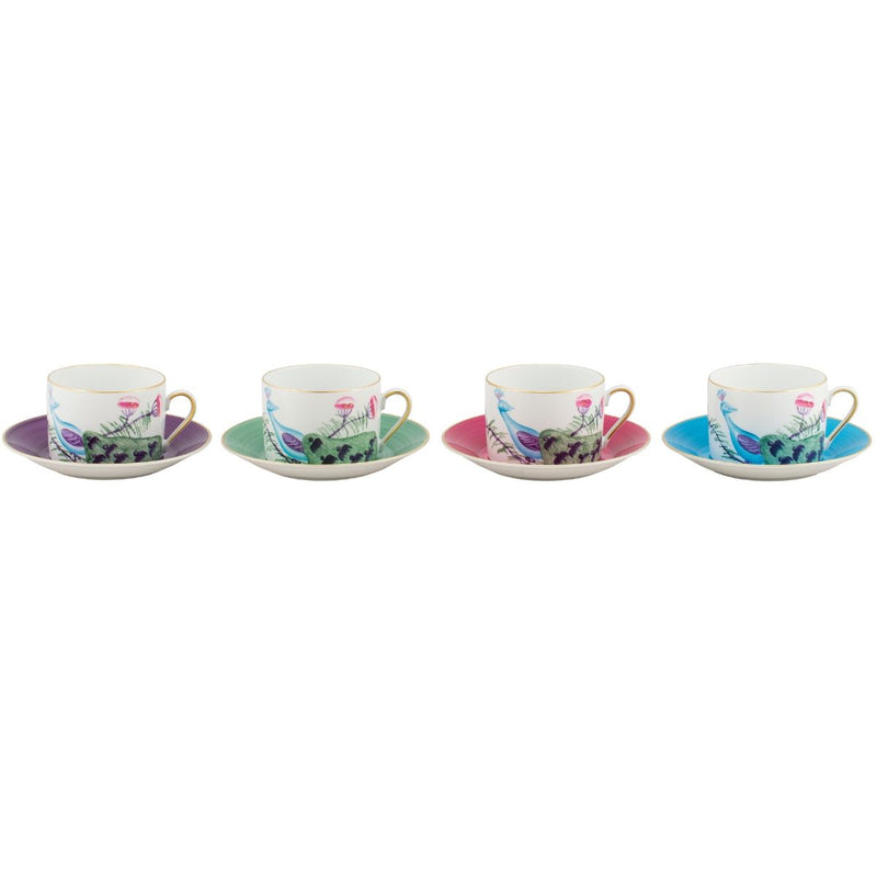 Peacock Breakfast Cup Set of 4 Mixed Colours