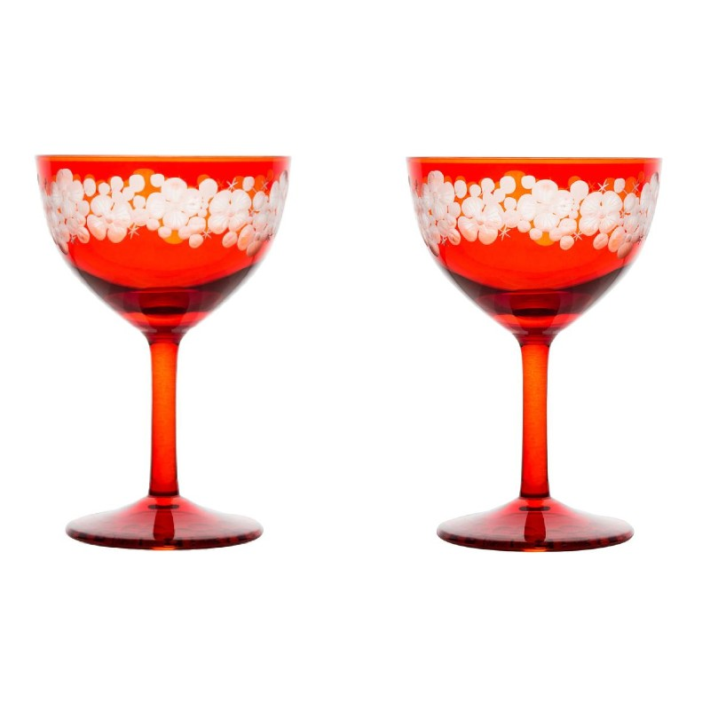 Cristobelle Champagne Saucer Pair - Burnt Orange