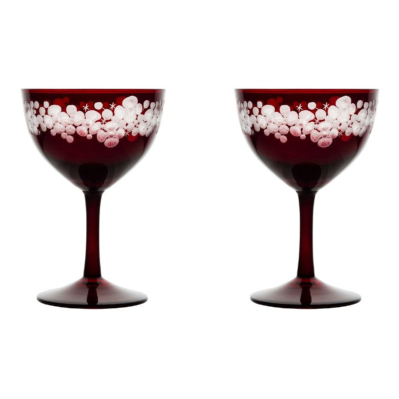 Cristobelle Champagne Saucer Pair - Ruby Red