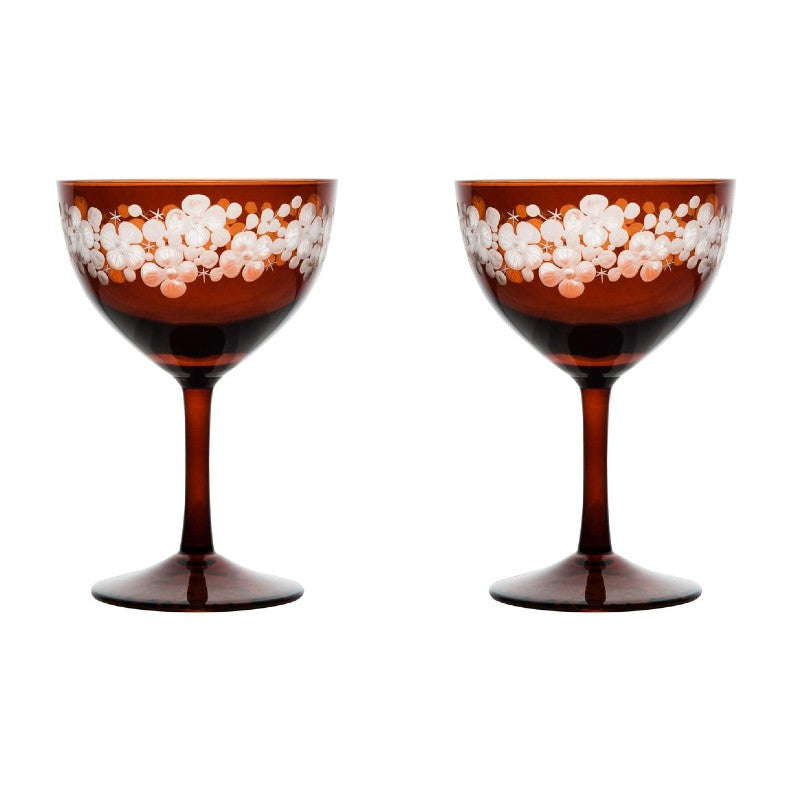 Cristobelle Champagne Saucer - Toffee Brown Pair