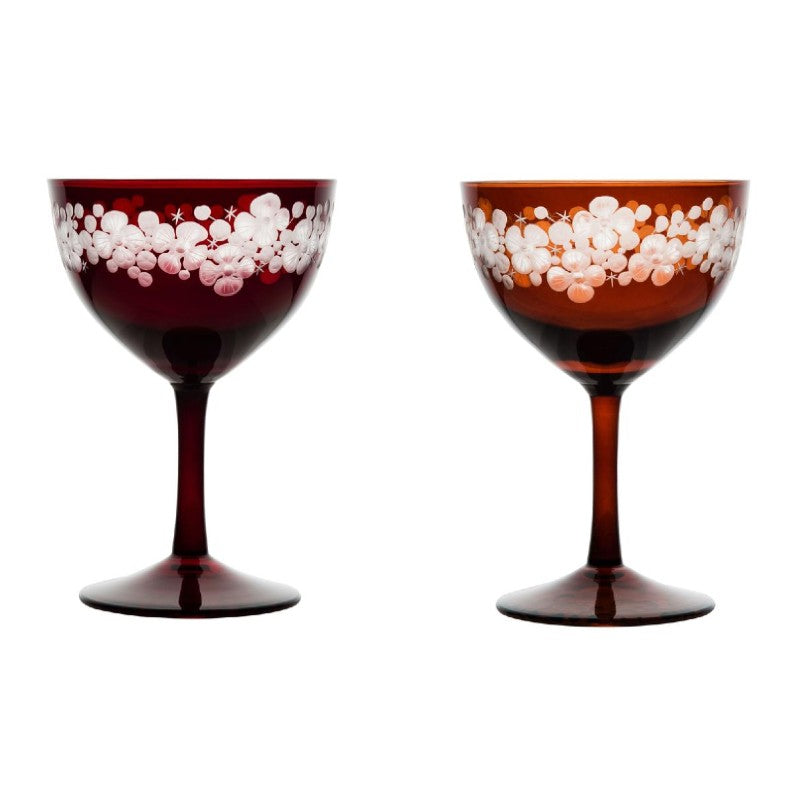 Cristobelle Champagne Saucer - Toffee & Ruby Pair