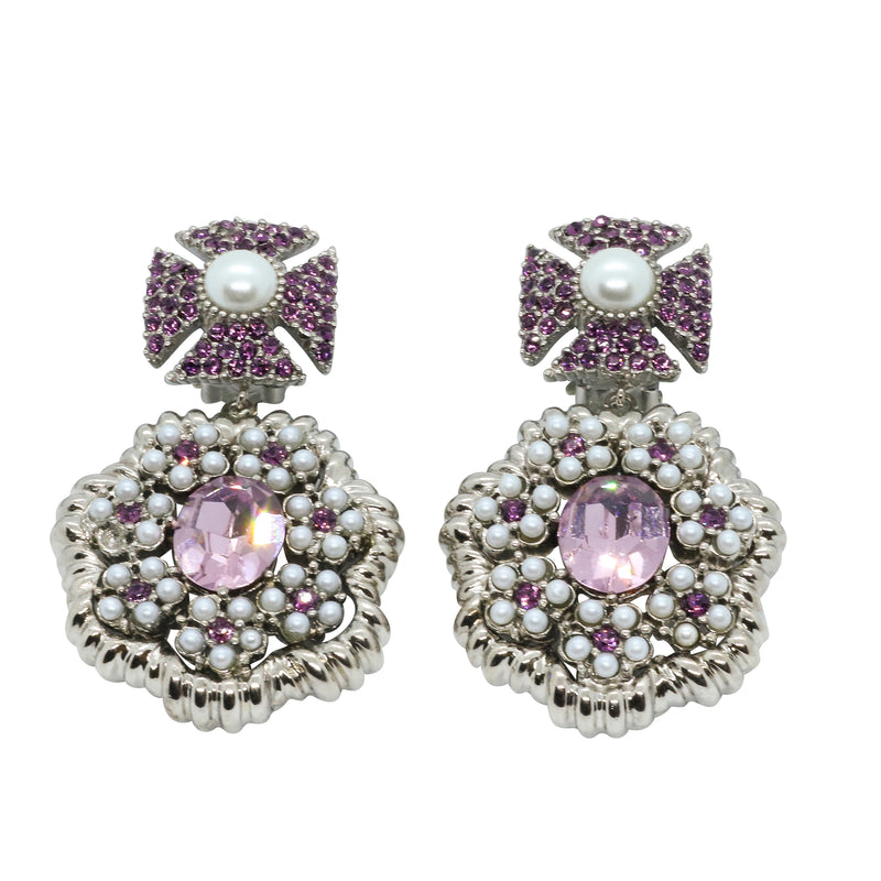 Lady Margerita Statement Earrings - Amethyst Purple