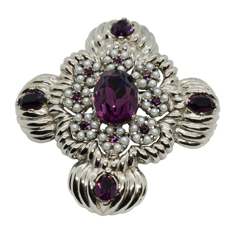 Lady Mari Pin / Brooch & Pendant - Amethyst Purple