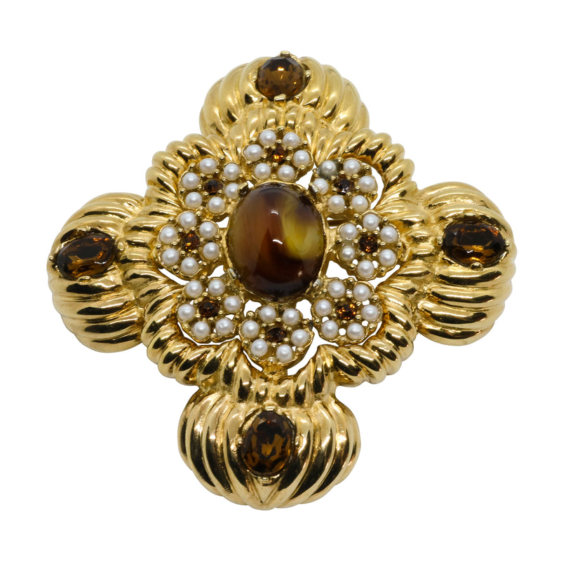 Lady Mari Pin / Brooch & Pendant - Tigers Eye