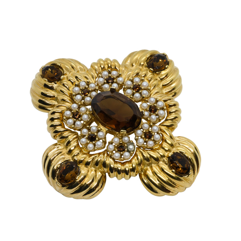 Lady Mari Pin / Brooch & Pendant - Smoked Topaz