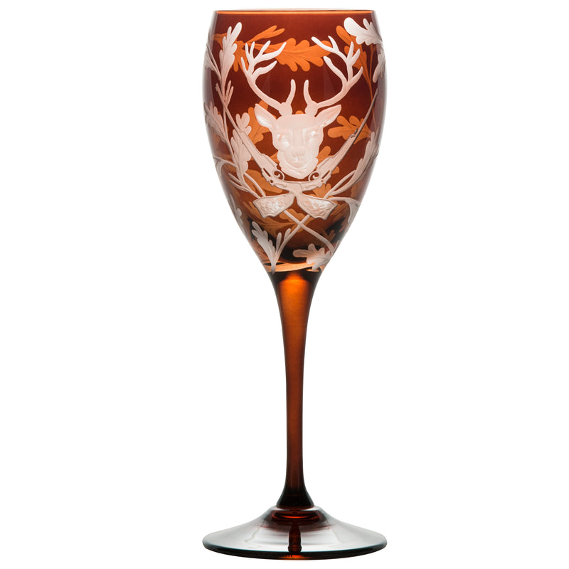 Crystal White Wine Glass Set of Four - Stag - Mahogany Brown