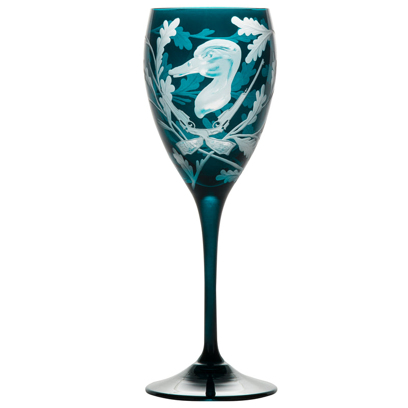 Crystal White Wine Glass Set of Four - Duck - Peacock Blue