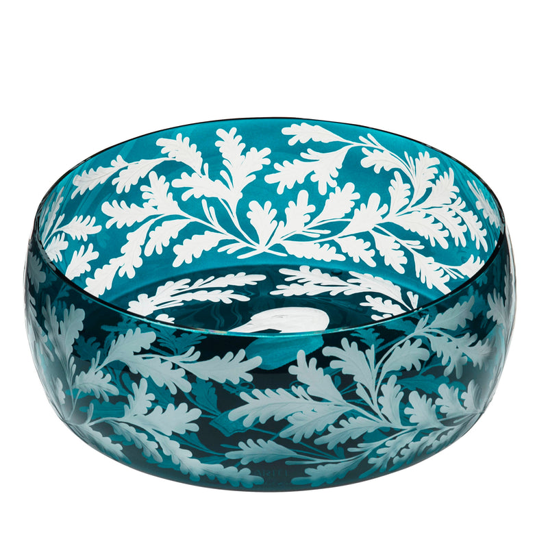 Crystal Bowl - Duck - Peacock Blue