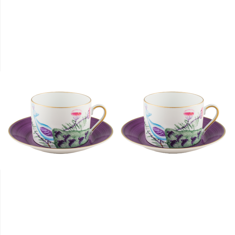Peacock Breakfast Cup Set of 2 Amethyst Purple