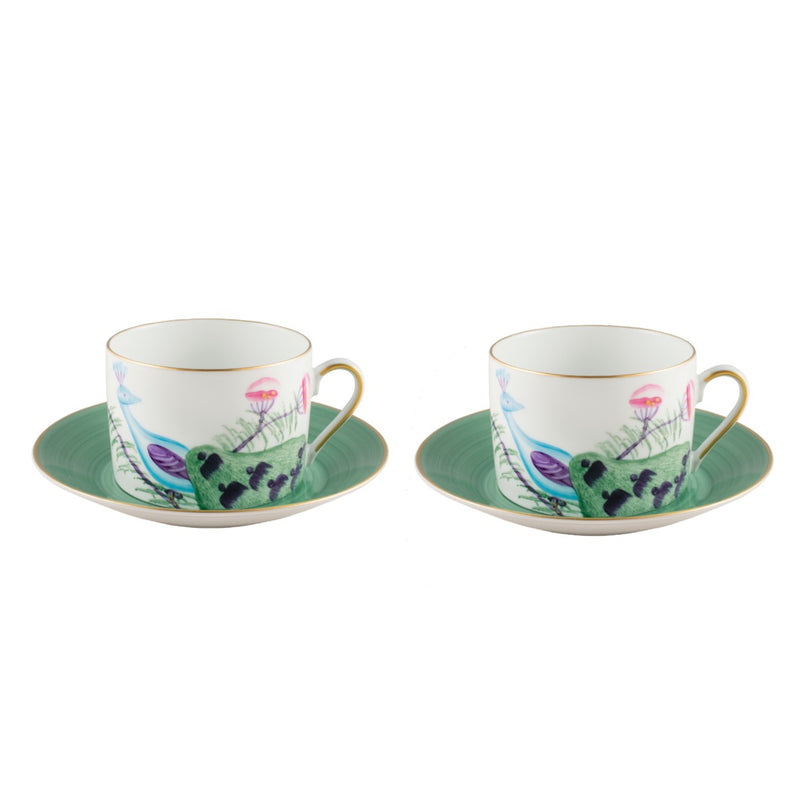 Peacock Breakfast Cup Set of 2 Emerald Green