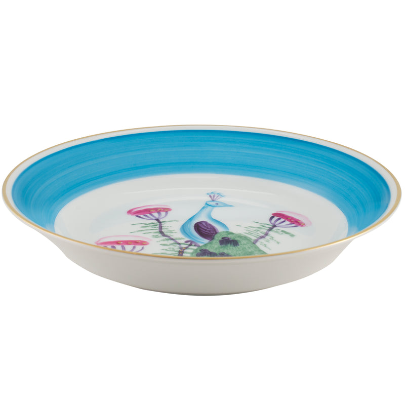Peacock Pudding & Cereal Bowl - Turquoise Blue