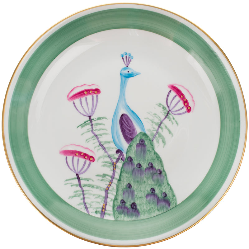 Peacock Dinner Plate - Emerald Green