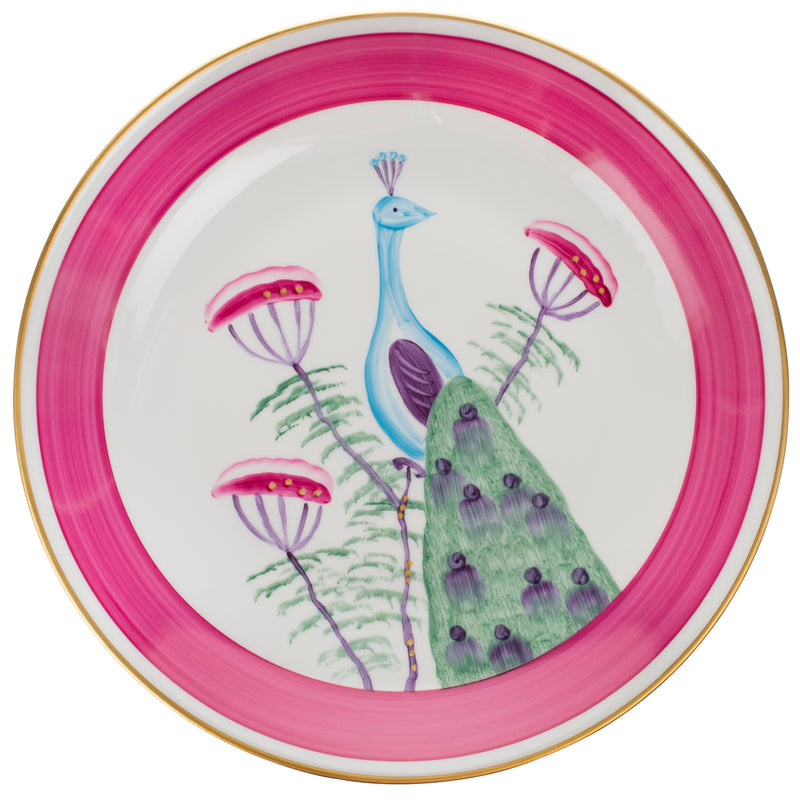 Peacock Dinner Plate - Fuchsia Pink