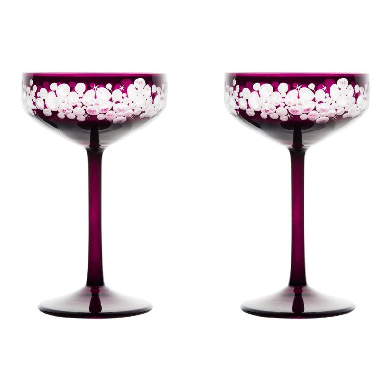 Isadora Champagne Saucer - Amethyst Pair