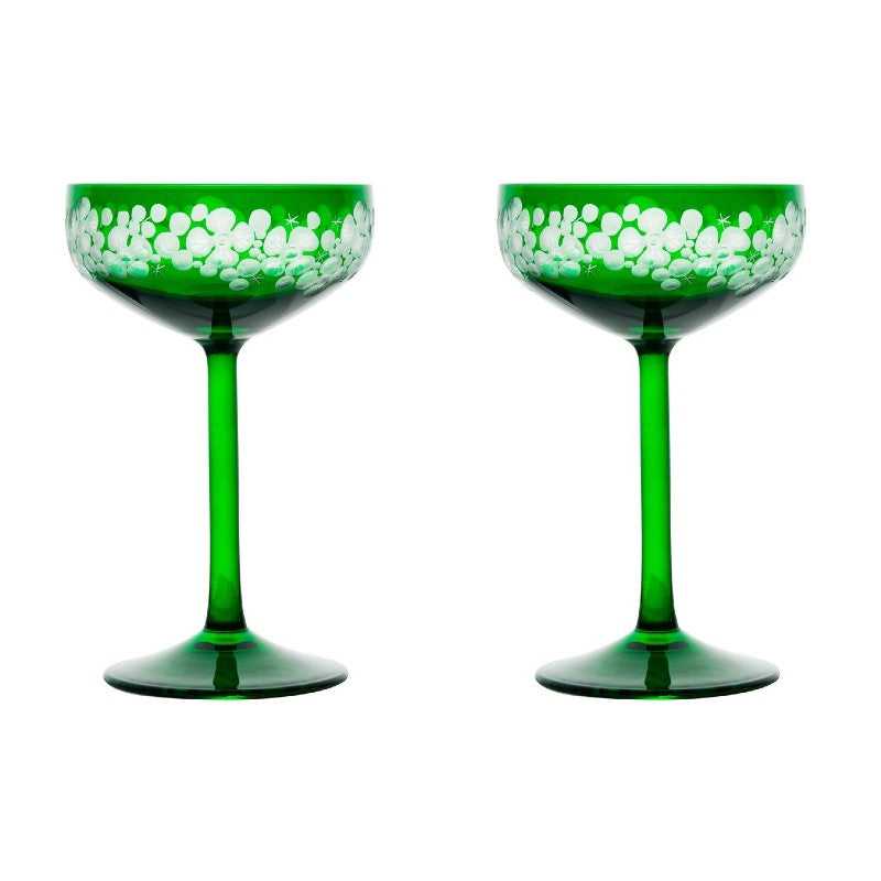 Isadora Champagne Saucer - Emerald Green Pair