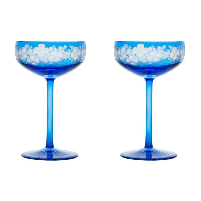 Isadora Champagne Saucer - Sky Blue Pair