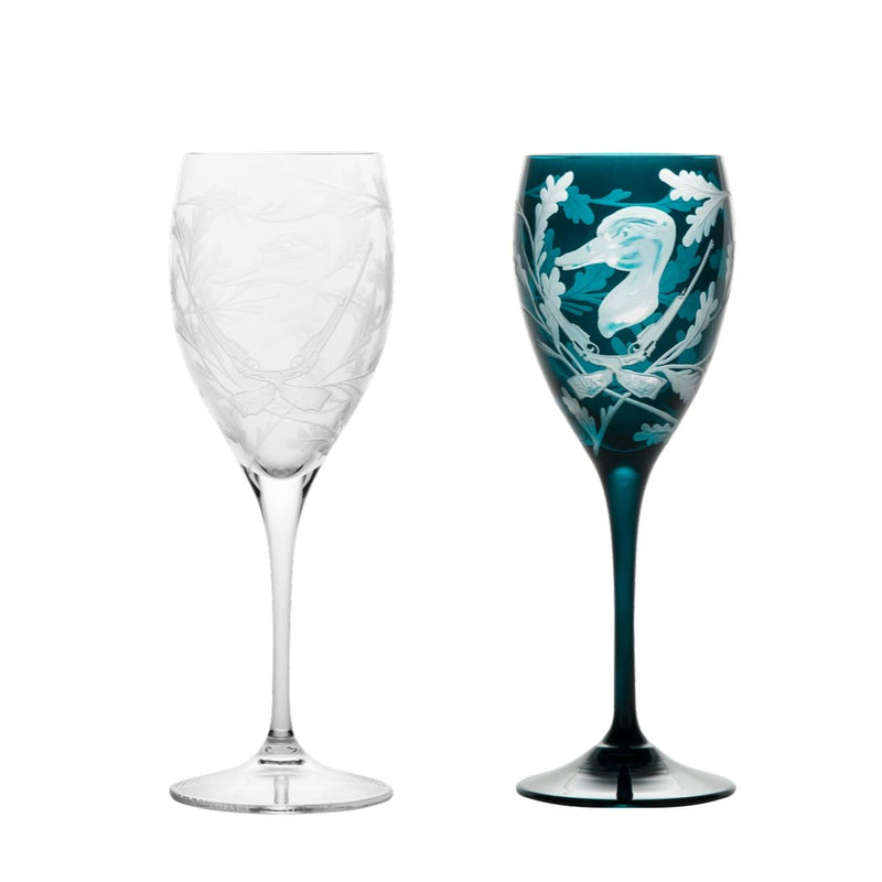 Crystal White Wine Glass Pair - Duck - Clear