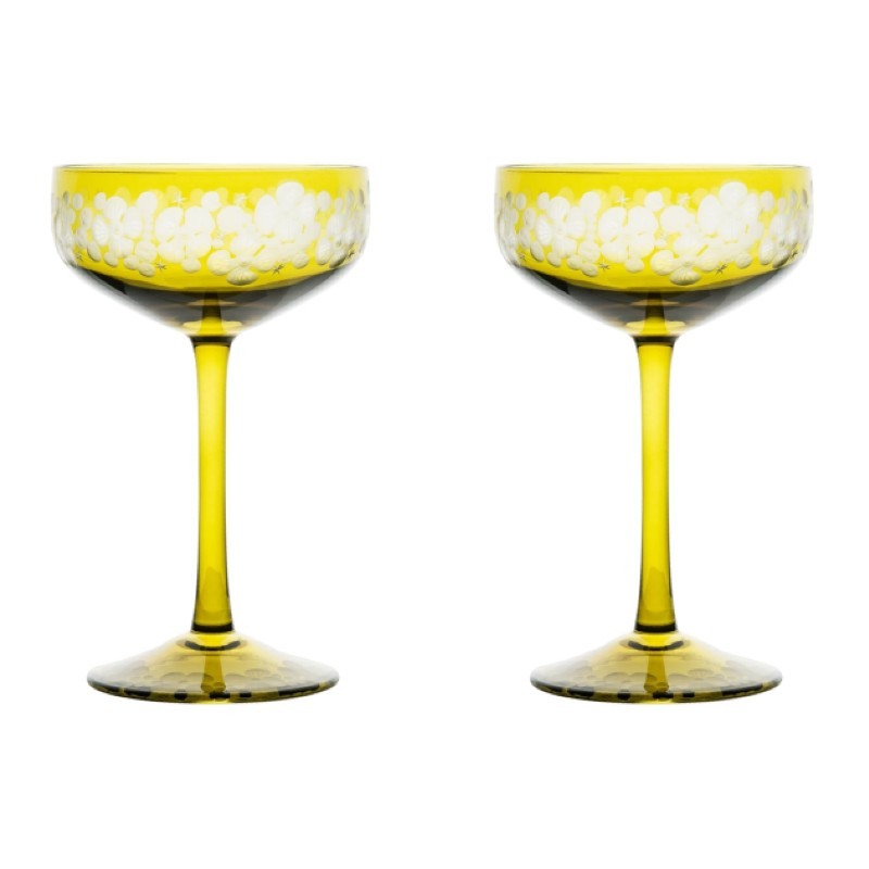 Isadora Champagne Saucer - Olive Green Pair