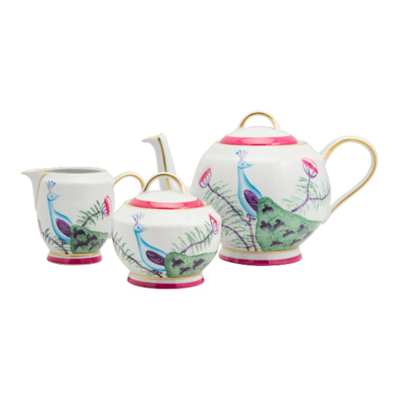 Peacock Tea Set - Fuchsia