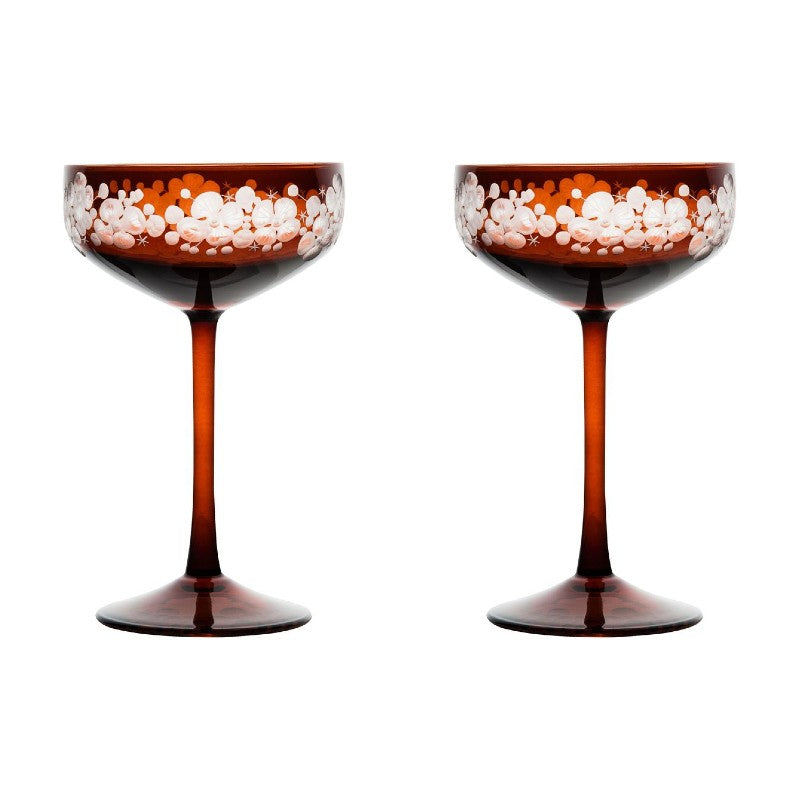 Isadora Champagne Saucer - Toffee Brown Pair
