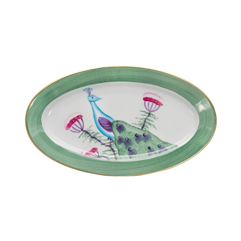 Peacock Large Oval Serving Platter Emerald Green