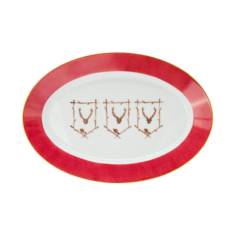 Saint Hubert Large Oval Serving Platter - Winter Ruby Red