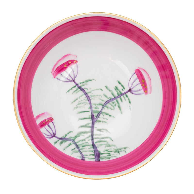 Peacock Soup Bowl - Fuchsia Pink