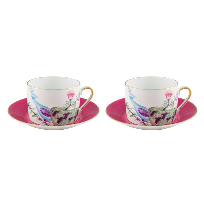 Peacock Breakfast Cup Set of 2 Fuchsia Pink