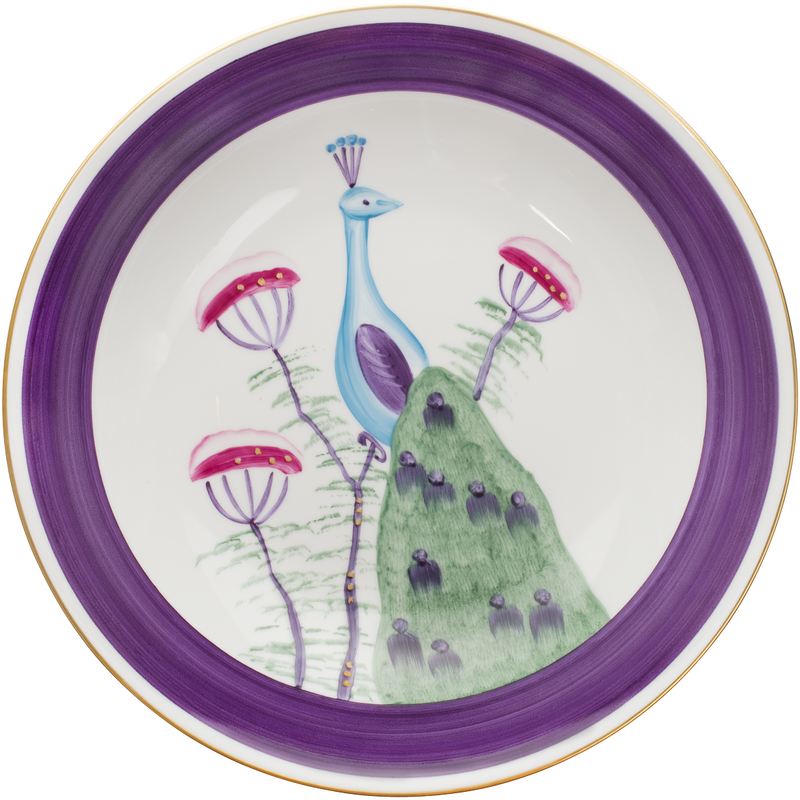 Peacock Serving Bowl - Amethyst Purple