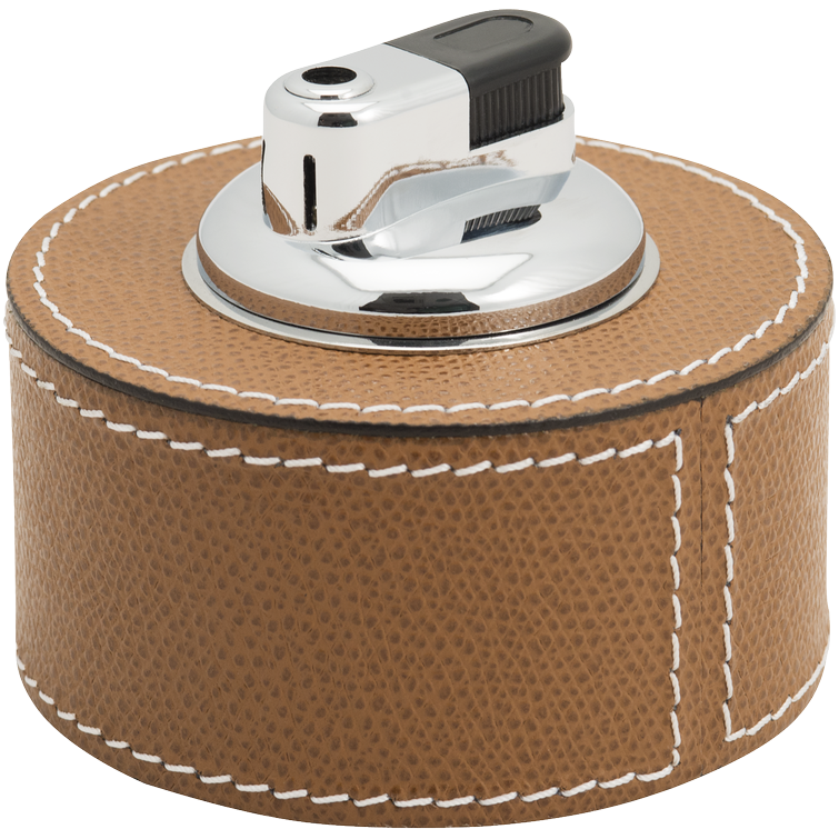 Leather Table Lighter - Tobacco Brown