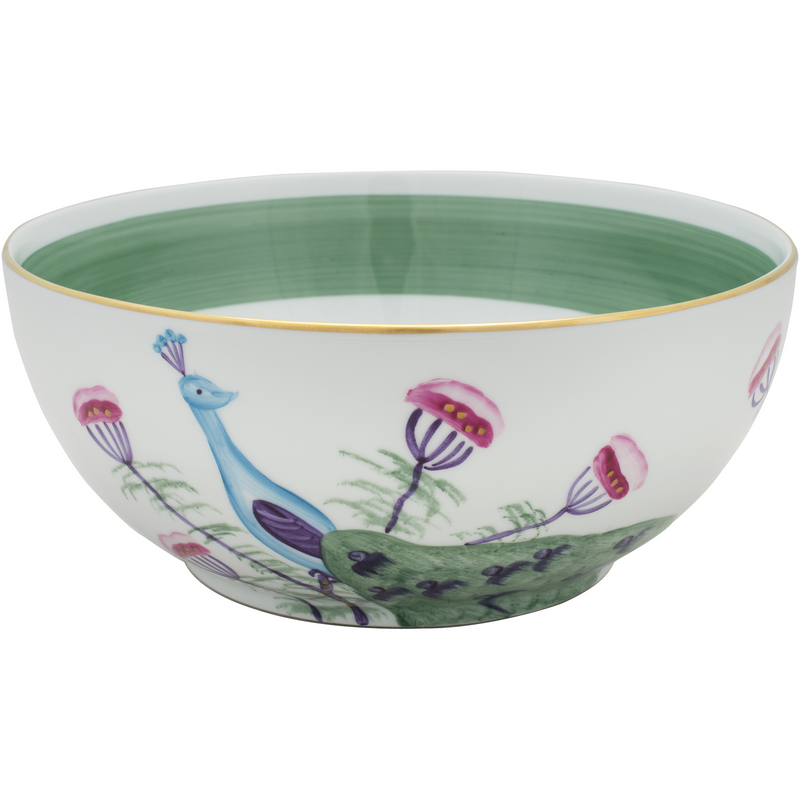 Peacock Salad Bowl - Emerald Green
