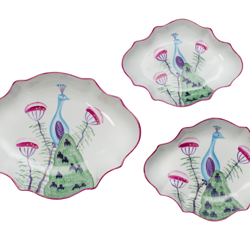 Peacock Fluted Edge Serving Dish - Set of 3 - Fuchsia Pink