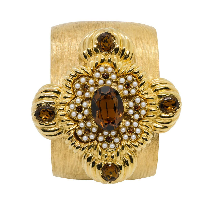 Lady Leonarda Cuff - Gold & Smoked Topaz - Order by 02.12.19 for Christmas Delivery
