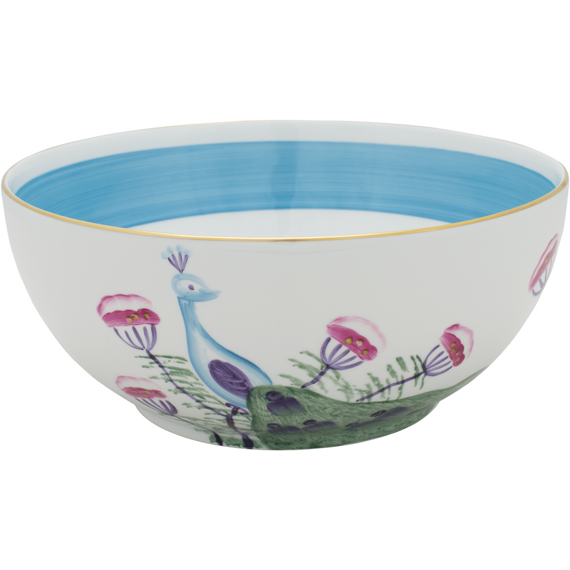 Peacock Salad Bowl Turquoise Blue