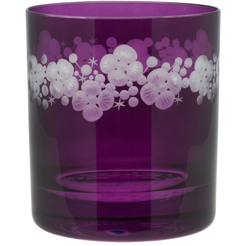 Moira Lace Cap Hydrangea Double Old Fashioned Tumbler - Amethyst