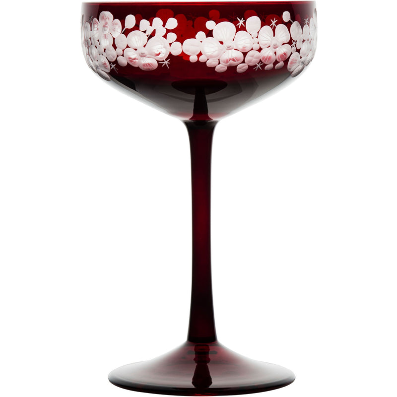 Isadora Champagne Saucer - Ruby Red